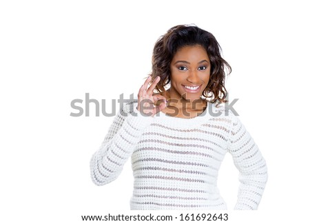 Closeup portrait of beautiful happy, excited woman giving OK sign, isolated on white background with copy space. Positive emotion facial expressions and symbols - stock photo