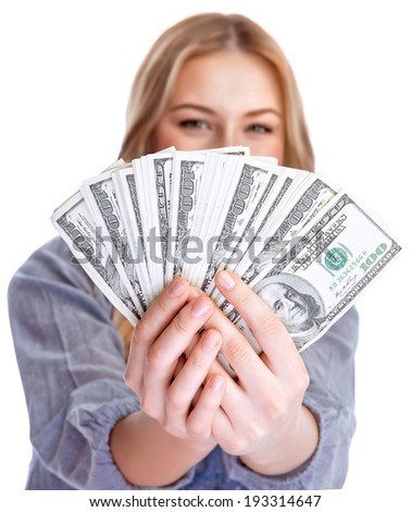 Closeup portrait of beautiful happy woman showing a lot of money, isolated on white background, American dollars, winner in financial lottery, business and currency concept  - stock photo