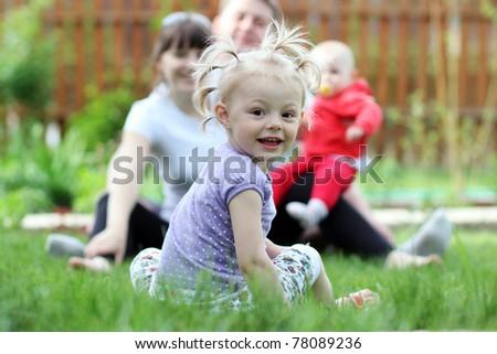 Closeup portrait of beautiful little girl - stock photo