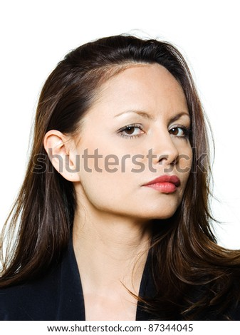 Closeup portrait of beautiful serious Asian woman in studio isolated on white background - stock photo