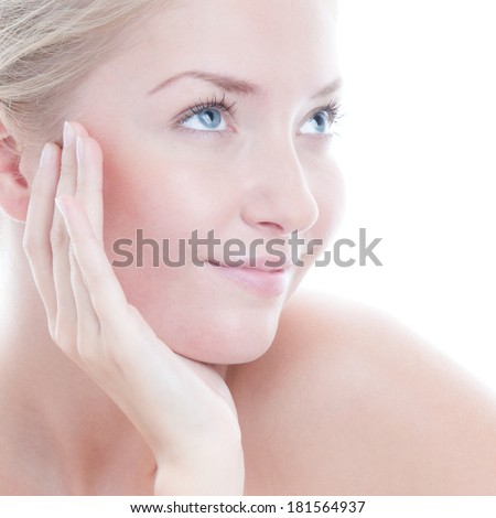 Closeup portrait of beauty woman - stock photo