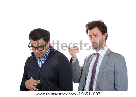 Closeup portrait of boss pointing for worker to leave office, fired.  Government shutdown or business downsizing.  Isolated on white background - stock photo