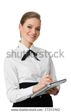 closeup portrait of business woman isolated on white background - stock photo