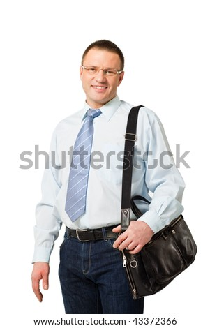 closeup portrait of businessman isolated on white background - stock photo