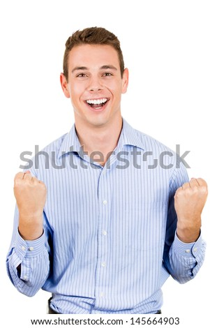 Closeup portrait of businessman or student winning and arms and fists pumped, isolated on white background - stock photo