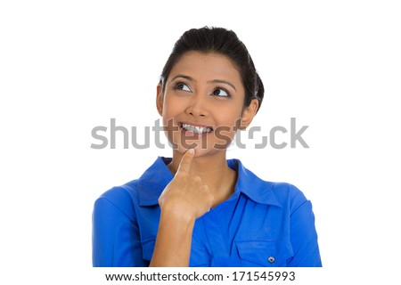 Closeup portrait of cute pretty smiling young woman, student thinking hand on chin looking up having an idea, isolated on white background. Positive emotions, facial expressions, feelings, attitude - stock photo