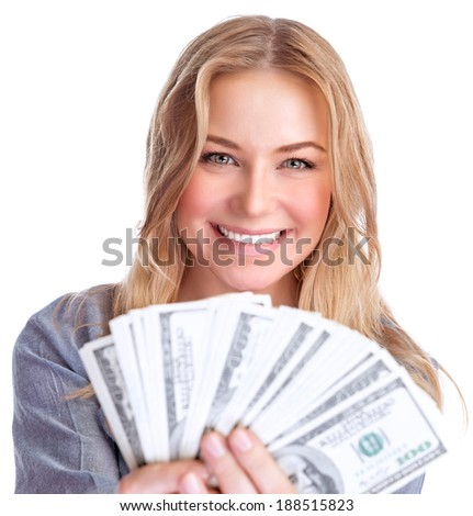 Closeup portrait of cute smiling girl winning money, financial prize in lottery, isolated on white background, wealth concept - stock photo