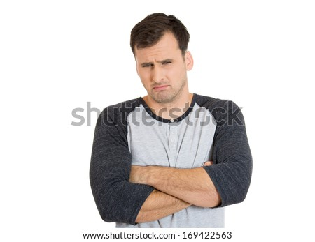 Closeup portrait of displeased pissed off angry grumpy man with bad attitude, arms crossed looking at you, isolated on white background . Negative human emotion facial expression feeling - stock photo