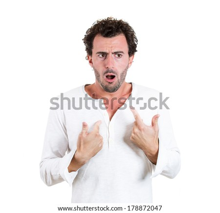 Closeup portrait of dumb clueless, confused shocked, surprised young man, asking what's problem, how did it happen, I don't know, isolated on white background. Negative human emotion facial expression - stock photo