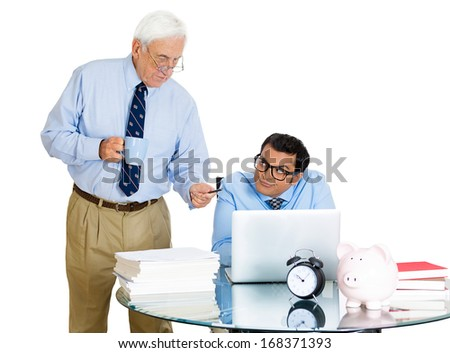 Closeup portrait of elderly business man boss, checking on his young employee, pushing to work hard on project, who is in disagreement, unhappy, isolated on white background. Human conflict at work - stock photo