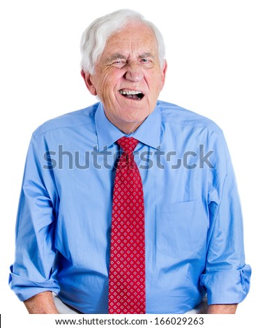 Closeup portrait of elderly executive, senior man, grandfather, looking unhappy, annoyed, having trouble hearing his opponent, during unpleasant conversation, isolated on white background. Expressions - stock photo