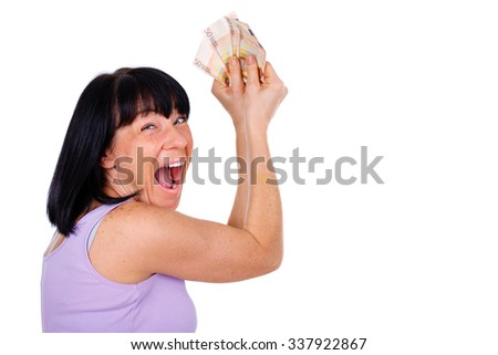 Closeup portrait of Emotional brunette woman shout and scream, holding up cash euro money in hands, isolated on white background, human emotion, facial expression - suitable for copy space  - stock photo