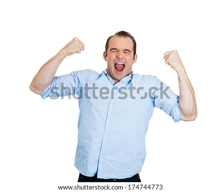 Closeup portrait of excited, energetic, happy, screaming student, business man winning, arms, fists pumped, celebrating success, isolated on white background. Positive human emotion, facial expression - stock photo