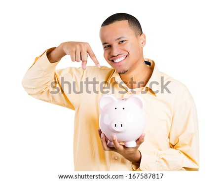 Closeup portrait of excited young successful happy man student introducing his friend, the piggy bank, isolated on white background. Financial money savings, corporate earnings report or education - stock photo