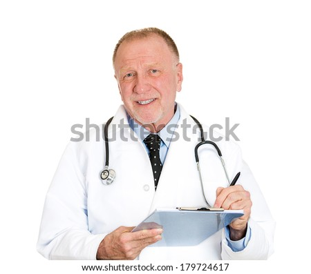 Closeup portrait of friendly senior mature health care professional, doctor, nurse, with stethoscope writing on clipboard, isolated on white background. Positive emotion facial expression feelings. - stock photo