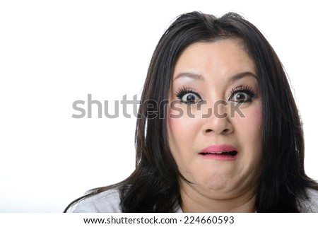 Closeup portrait of frightened and shocked asian woman isolated on white background. Negative emotions, facial expressions, feelings - stock photo