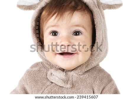 closeup portrait of funny smiling baby on white - stock photo
