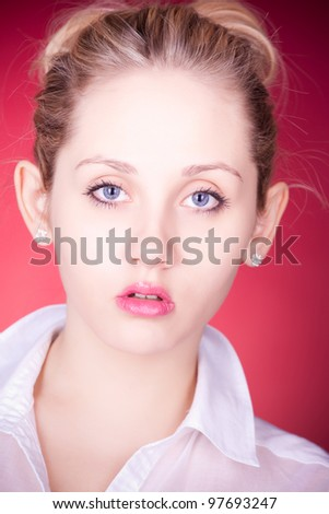 closeup portrait of glamour young girl with beautiful blonde hair - stock photo