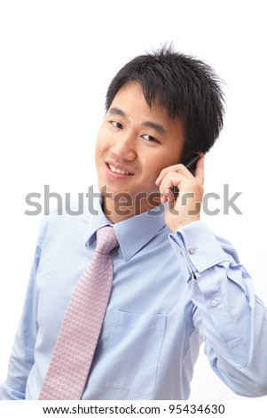 Closeup portrait of handsome business man speaking mobile phone isolated on white background, model is a asian - stock photo