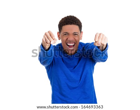 Closeup portrait of handsome excited, energetic, happy, screaming student man winning, arms, fists pumped, celebrating success, isolated on white background. Positive human emotion, facial expressions - stock photo