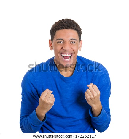 Closeup portrait of handsome excited, energetic, happy, screaming student man winning, arms, fists pumped, celebrating success, isolated on white background. Positive emotion facial expression feeling - stock photo