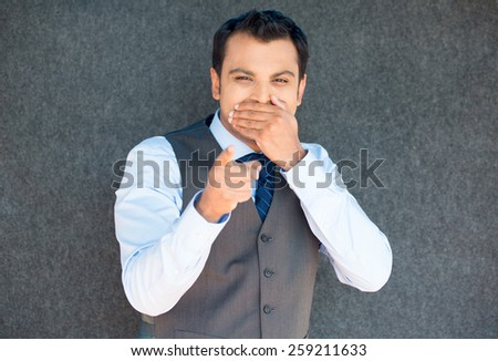 Closeup portrait of handsome excited, manager boss man in vest and tie, happy smile, pointing finger towards at you to the camera gesture, isolated gray background - stock photo