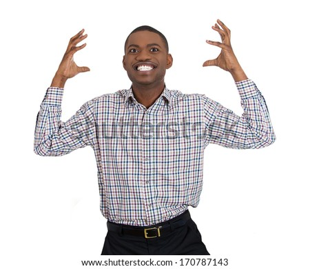 Closeup portrait of handsome happy excited young student man winning, arms, hands raised celebrating success, isolated on white background, Positive human emotion, facial expression feeling - stock photo