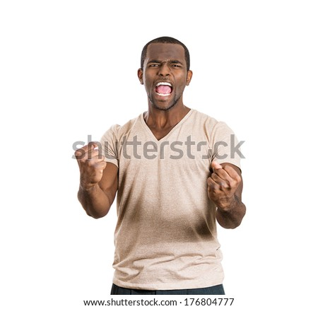 Closeup portrait of handsome happy, screaming young student man winning, arms fists pumped celebrating success, isolated on white background, Positive human emotion, facial expression feeling reaction - stock photo