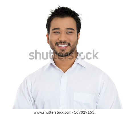 Closeup portrait of handsome, smiling business man, successful student, happy guy, agent, isolated on white background. Positive human emotions, feelings, emotions, expressions, attitude, perception - stock photo