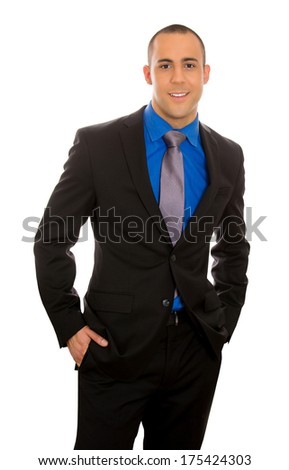 Closeup portrait of handsome, successful business man, young happy employee, smiling worker wearing black suit, tie isolated on white background. Positive human face expressions, emotions, attitude - stock photo
