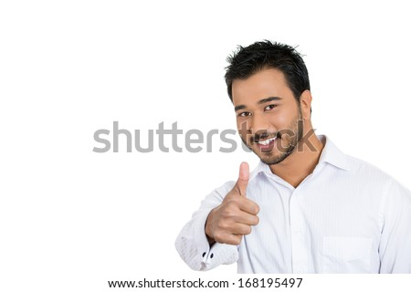 Closeup portrait of handsome young business man, student, employee, customer giving thumbs up sign, isolated on white background with copy space to left. Positive human face expressions, emotions - stock photo