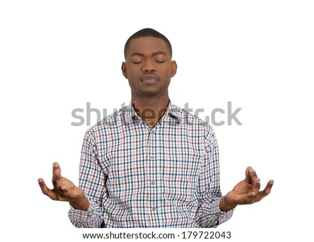 Closeup portrait of handsome young man, eyes closed, in meditation zen mode, isolated on white background. Stress relief techniques concept. Positive human emotions, facial expression sign, feelings - stock photo