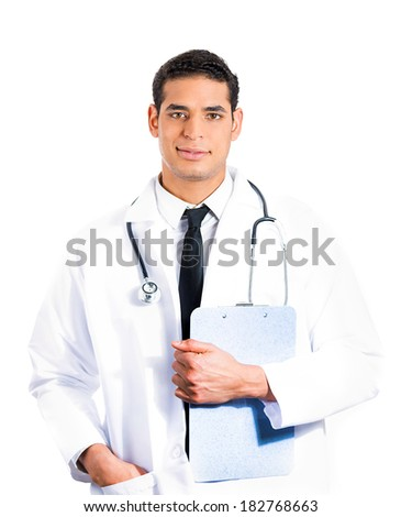 Closeup portrait of happy, confident, casual healthcare professional, dentist, pharmacist, scientist, researcher, doctor, nurse with clipboard in hand, isolated on white background. Patient care - stock photo