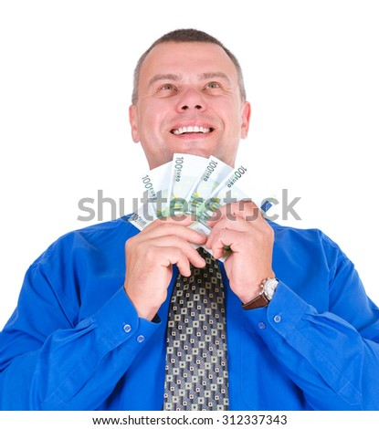 Closeup portrait of happy, excited, successful, lucky business man in shirt and tie holding money euros banknotes in hands. Looking up.  isolated white background. Positive emotion. - stock photo