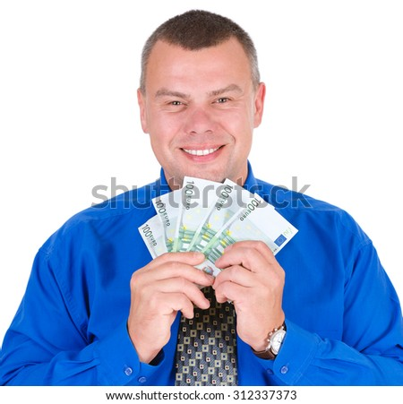 Closeup portrait of happy, excited, successful, lucky business man in shirt and tie holding money euros banknotes in hands. Looking to camera. isolated white background. Positive emotion.  - stock photo