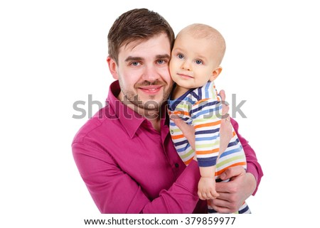 Closeup portrait of happy father with a little baby infant isolated on a white background - stock photo