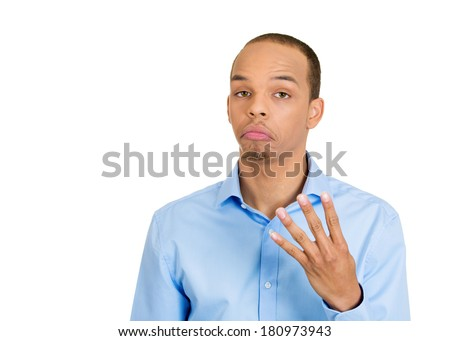Closeup portrait of happy smiling young, handsome man making four times sign gesture with hand fingers, isolated on white background. Positive emotion facial expression feelings, attitude, symbol - stock photo