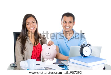 Closeup portrait of happy, successful couple planning for future financial success, isolated on white background - stock photo