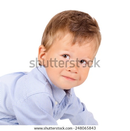 Closeup portrait of little toddler boy isolated on white background  - stock photo