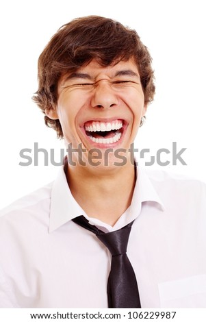 Closeup portrait of loudly laughing latin teenager. Isolated on white background, mask included - stock photo