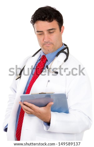 Closeup portrait of male doctor or healthcare professional or nurse wearing red tie and stethoscope reading patient information on clipboard, isolated on white background with copy space - stock photo