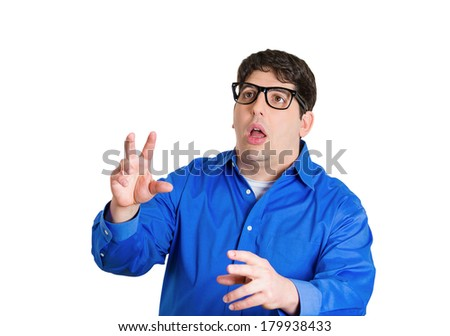 Closeup portrait of nerdy business man going nuts, insane, seeing things that don't exist, being confused, hysterical, irrational isolated on white background. Negative human emotion facial expression - stock photo