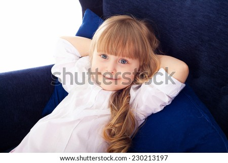 Closeup portrait of pretty little blond girl  - stock photo