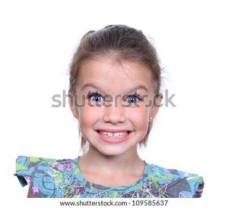 Closeup portrait of pretty little girl - stock photo