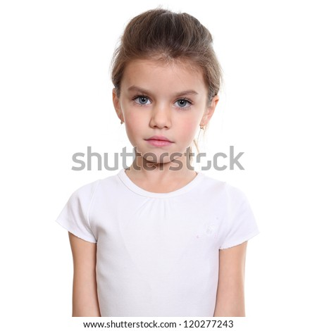 Closeup portrait of pretty little girl - stock photo