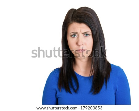 Closeup portrait of pretty, unhappy, troubled upset young woman with puppy dog face about to cry, isolated on white background. Negative emotion facial expression feelings, body language - stock photo