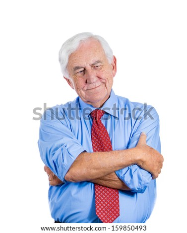 Closeup portrait of senior elderly mature man trying to remember something, in deep thought with subtle smile on a face, isolated on a white background with copy space. Positive human emotions.  - stock photo