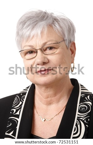 Closeup portrait of senior lady wearing glasses, smiling at camera.? - stock photo