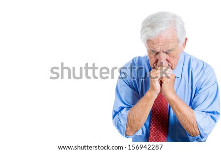 Closeup portrait of senior mature, elderly man very sad and depressed and almost to the point of crying, isolated on white background with copy space. Human emotions and facial expressions  - stock photo