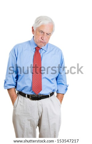 Closeup portrait of senior mature, elderly man very sad and frustrated by something, isolated on white background - stock photo